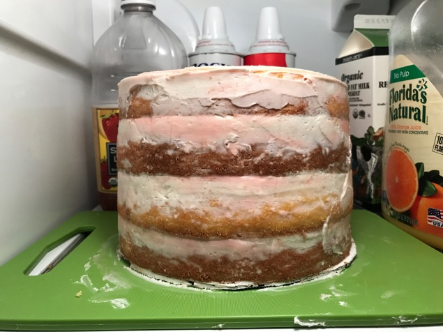 Cake in stage 1. I went with the very popular naked cake design.