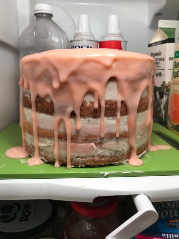 I was scared to add the drip effect, thinking it would look bad or harden too much, but I was able to make it into a great ganache using heavy cream and white chocolate chips.